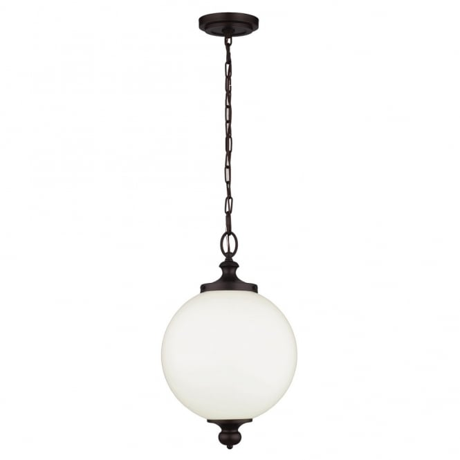 Feiss PARKMAN period inspired large opal glass globe pendant with oil rubbed bronze suspension