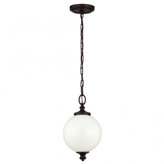 Feiss PARKMAN period inspired small opal glass globe pendant with oil rubbed bronze suspension