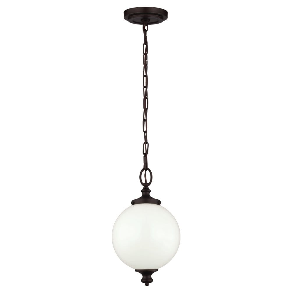 White Glass Globe Ceiling Pendant with Dark Bronze Chain ...