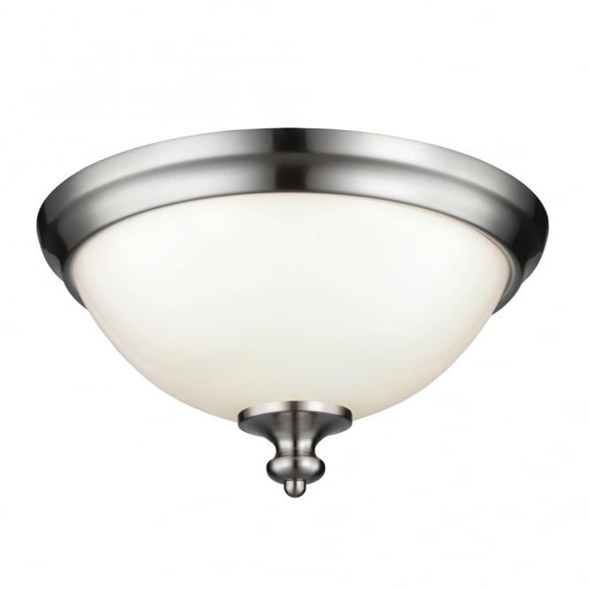 PARKMAN traditional flush mount ceiling light in brushed steel with opal glass shade