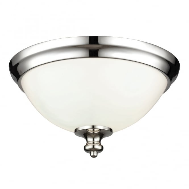 Feiss PARKMAN traditional flush mount ceiling light in polished nickel with opal glass shade