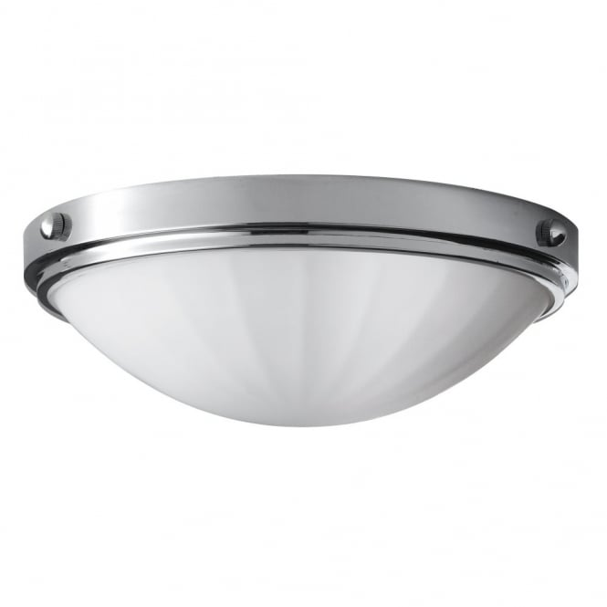 classic flush bathroom ceiling light in polished chrome with opal glass dome shade
