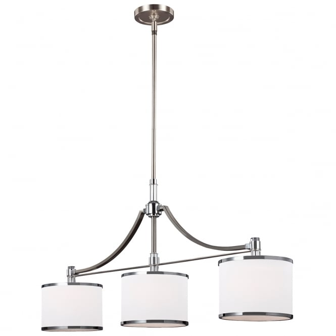 PROSPECT PARK 3 light island chandelier in satin nickel and chrome