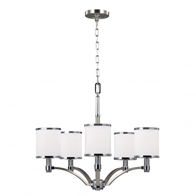 PROSPECT PARK 5 light chandelier in nickel and chrome with opal glasses