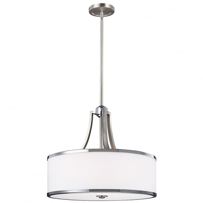 PROSPECT PARK dual mount ceiling pendant in satin nickel and chrome with opal glass