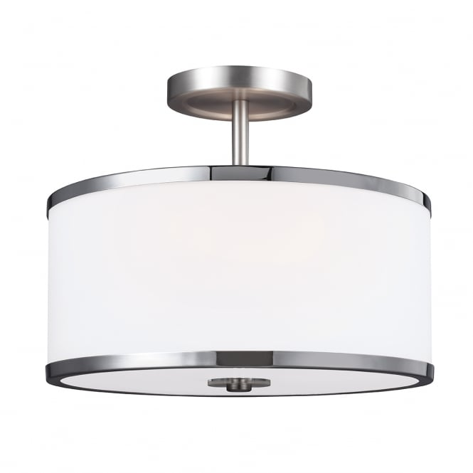 PROSPECT PARK satin nickel semi flush ceiling light with opal glass shade