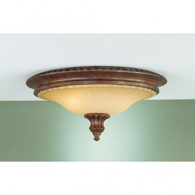 Feiss STIRLING CASTLE rustic period flush ceiling light in bronze