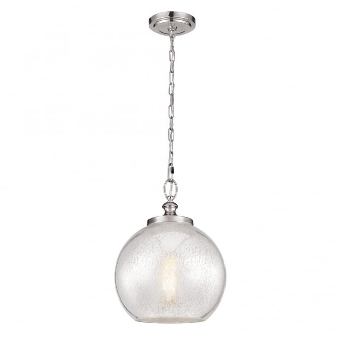 Feiss TABBY hanging chain ceiling pendant with mercury glass shade & brushed steel suspension
