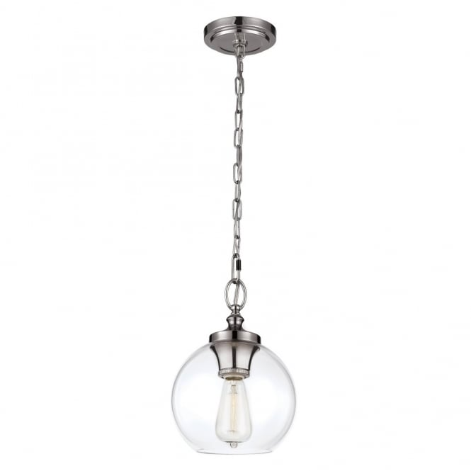 Feiss TABBY mini chain hanging pendant with clear glass shade & polished nickel suspension