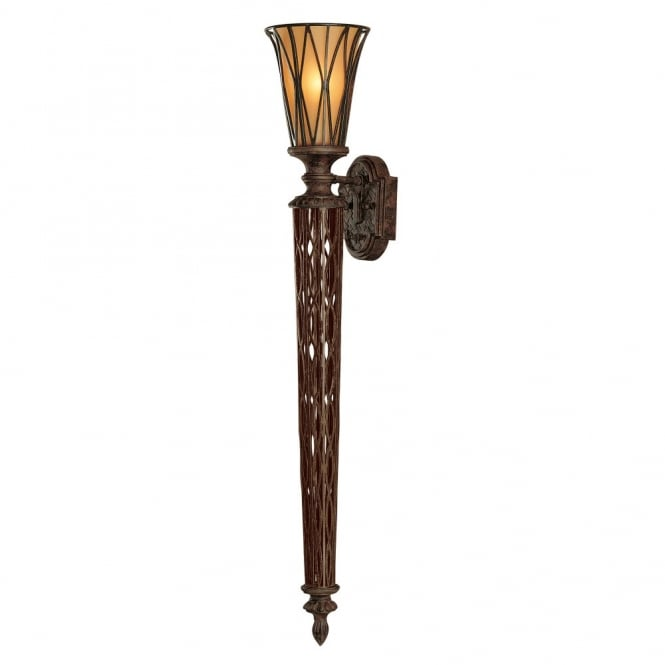 Feiss TRIOMPHE grand Gothic wall torchiere with ornate metalwork and amber glass shade