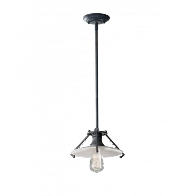 Feiss URBAN RENEWAL industrial ceiling pendant light, grey zinc