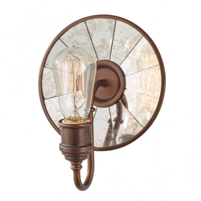 Feiss URBAN RENEWAL vintage wall light in bronze with reflector backplate