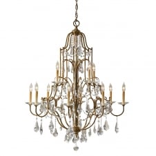 traditional 12 light chandelier in bronze with glass droplets