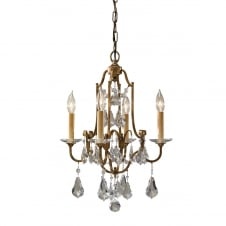 traditional 4 light chandelier in bronze with glass droplets