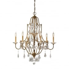 traditional 6 light chandelier in bronze with glass droplets