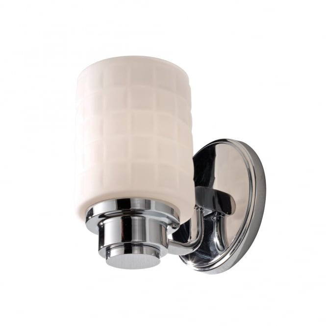 Classic chrome bathroom wall light with textured opal glass shade classic period bathroom wall light in polished chrome with textured opal glass shade mozeypictures Image collections