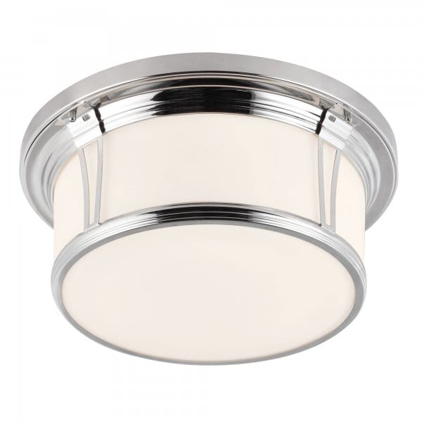 Classic flush bathroom ceiling light in polished nickel w - Flush mount bathroom ceiling lights ...
