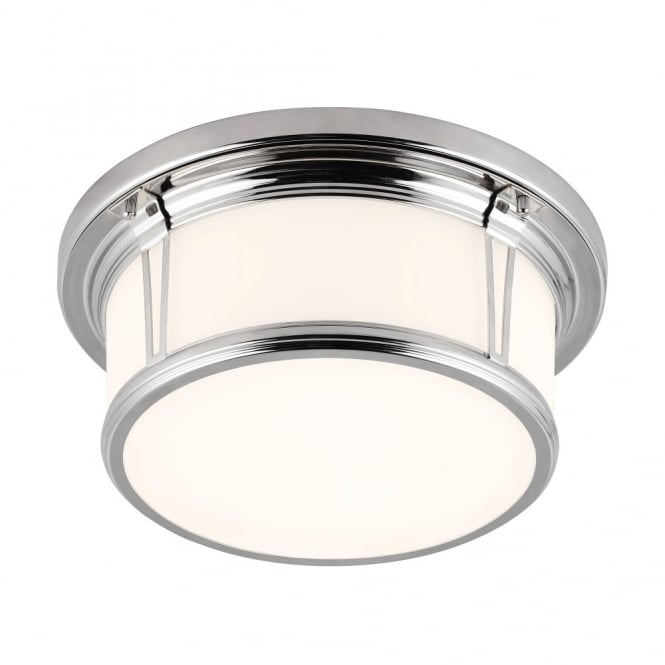 Feiss WOODWARD classic flush mount bathroom ceiling light with nickel frame & opal glass (medium)