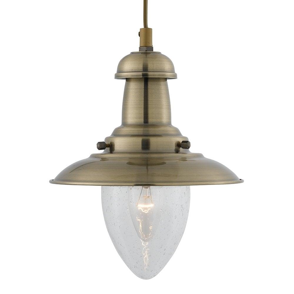 huge selection of 03b09 8ea12 FISHERMAN mini lantern ceiling pendant light antique brass