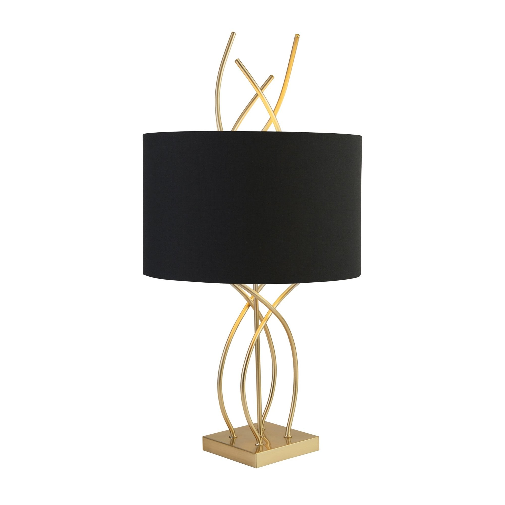 Picture of: Flame Table Lamp With Antique Brass Base And Black Shade