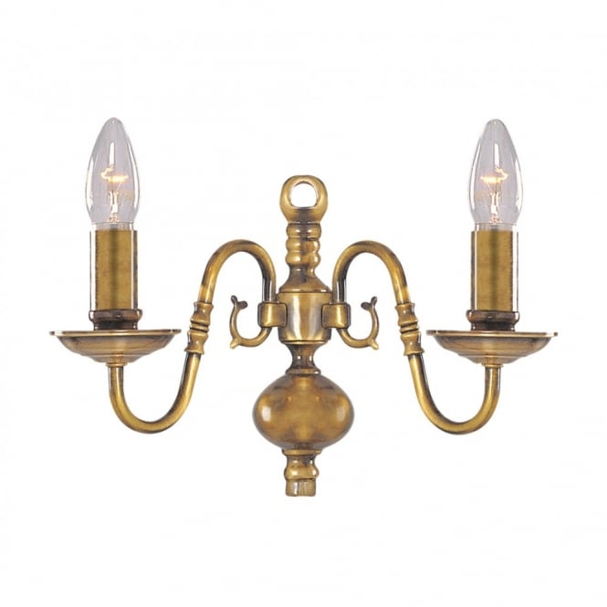 Buy flemish traditional antique brass wall light flemish traditional antique brass twin wall light aloadofball Images