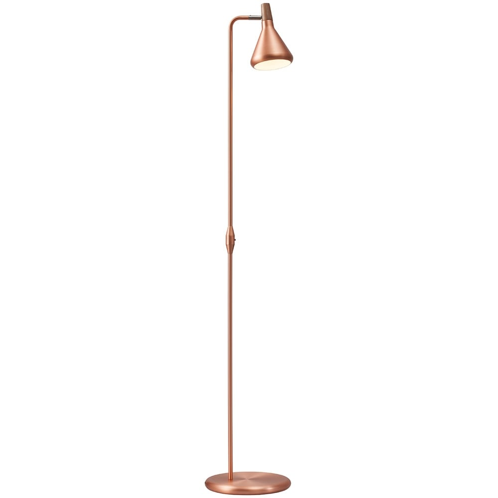 Modern Design Copper Floor Lamp With Walnut Shade Accent Switched