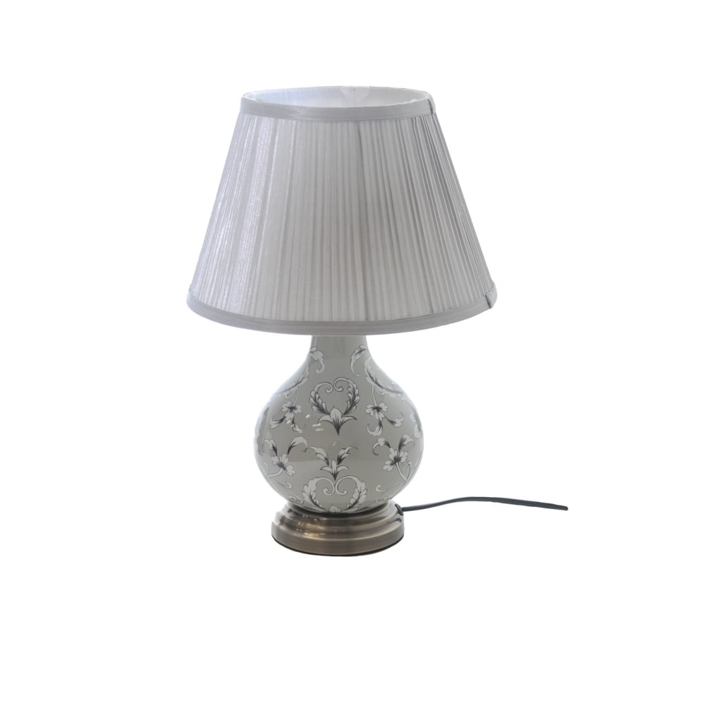Grey Floral Ceramic Lamp With Pleat Shade Lighting Company