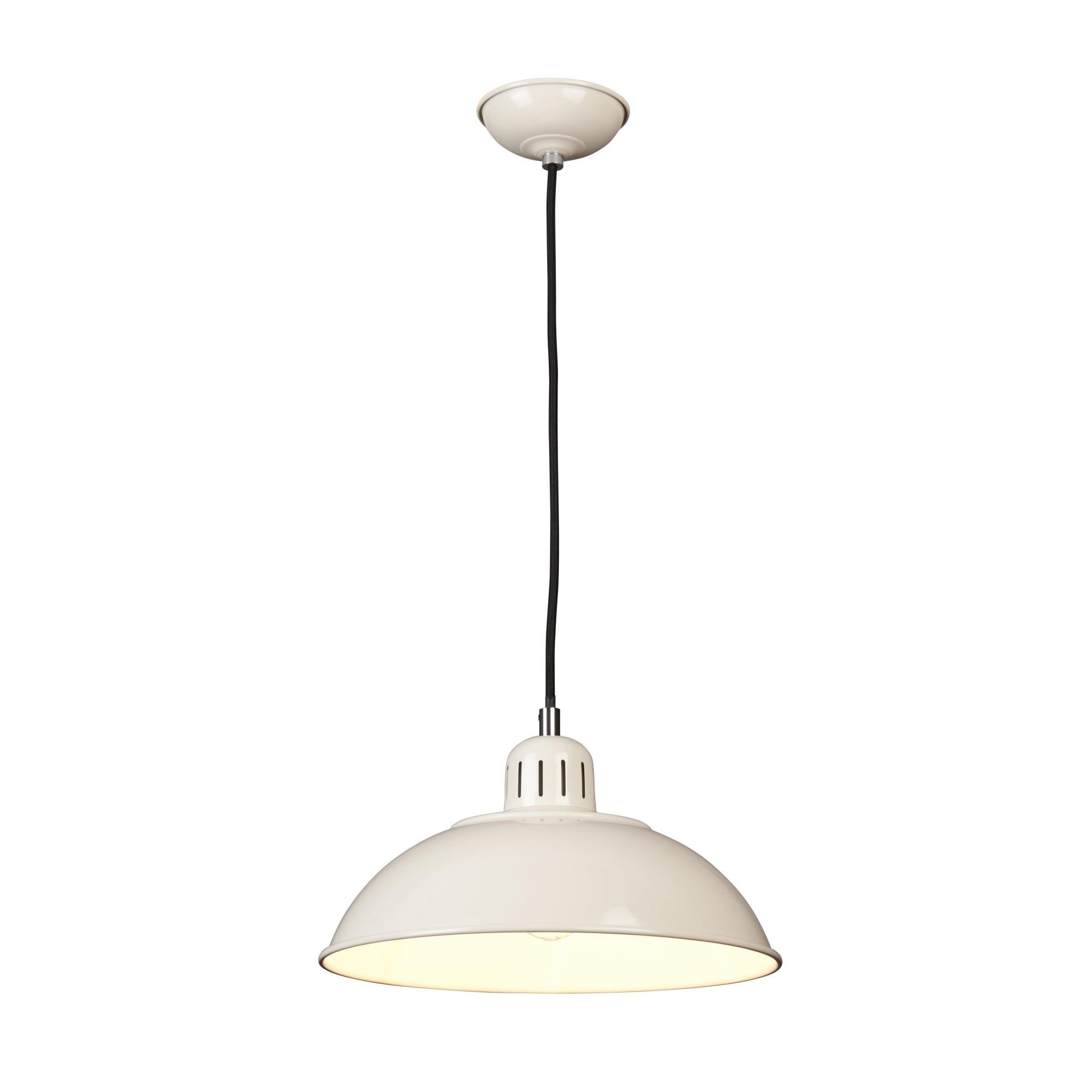 Retro Mid Century Ceiling Pendant Light In Oyster Cream Finish