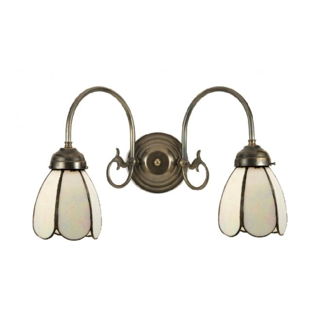 FREDA traditional wall light, Tiffany white petal shades