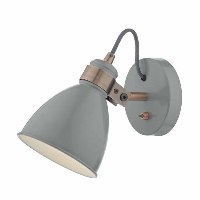 FREDERICK retro grey and copper wall light