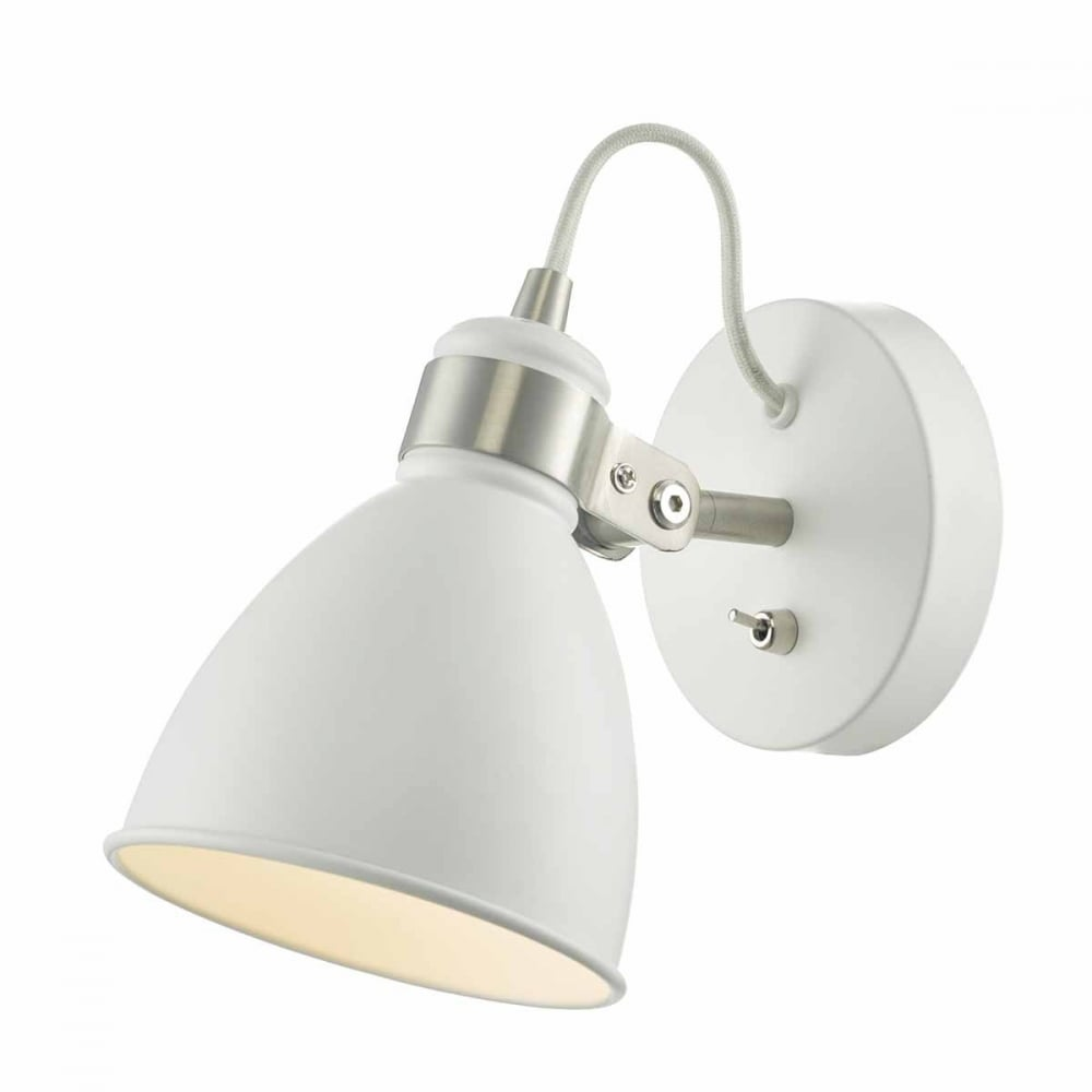 Frederick Retro White And Satin Chrome Wall Spotlight