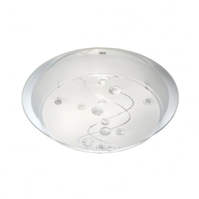FROSTED glass flush fit ceiling light with leaf design and mirrored backplate