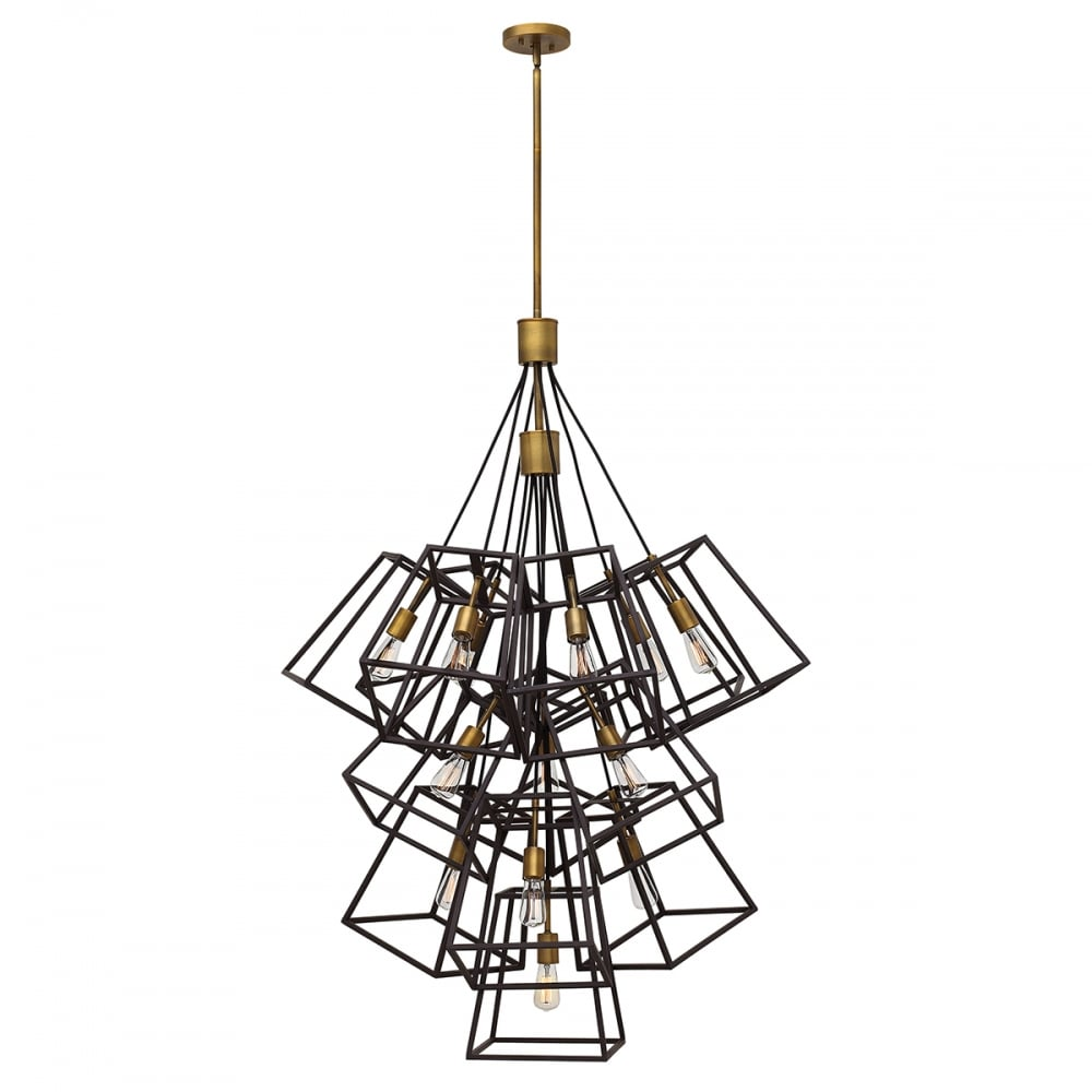 sports shoes 8899f 6474b FULTON 13 light tapered cage multi pendant chandelier in two tone bronze
