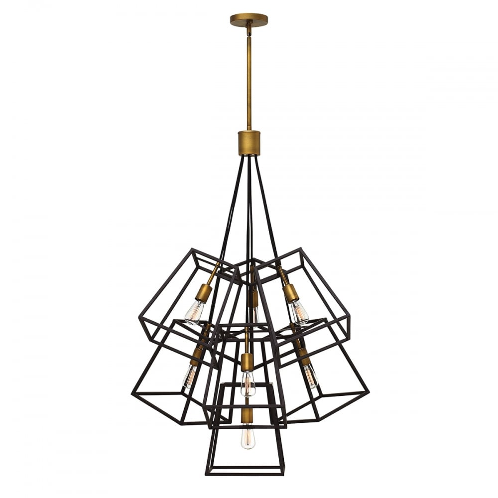 cheap for discount cef24 16d60 FULTON 7 light tapered cage multi pendant chandelier in two tone bronze