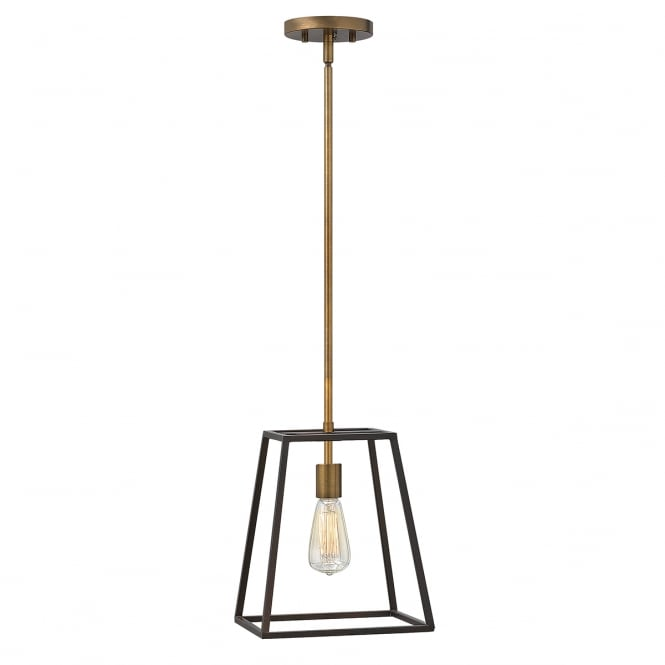 FULTON vintage industrial bronze ceiling pendant with taped cage design