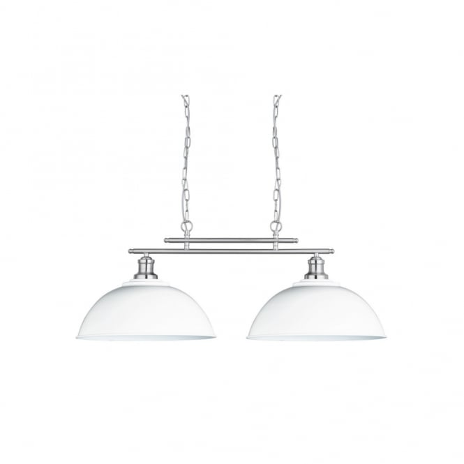 FUSION 2 light ceiling bar pendant in satin silver with white shades
