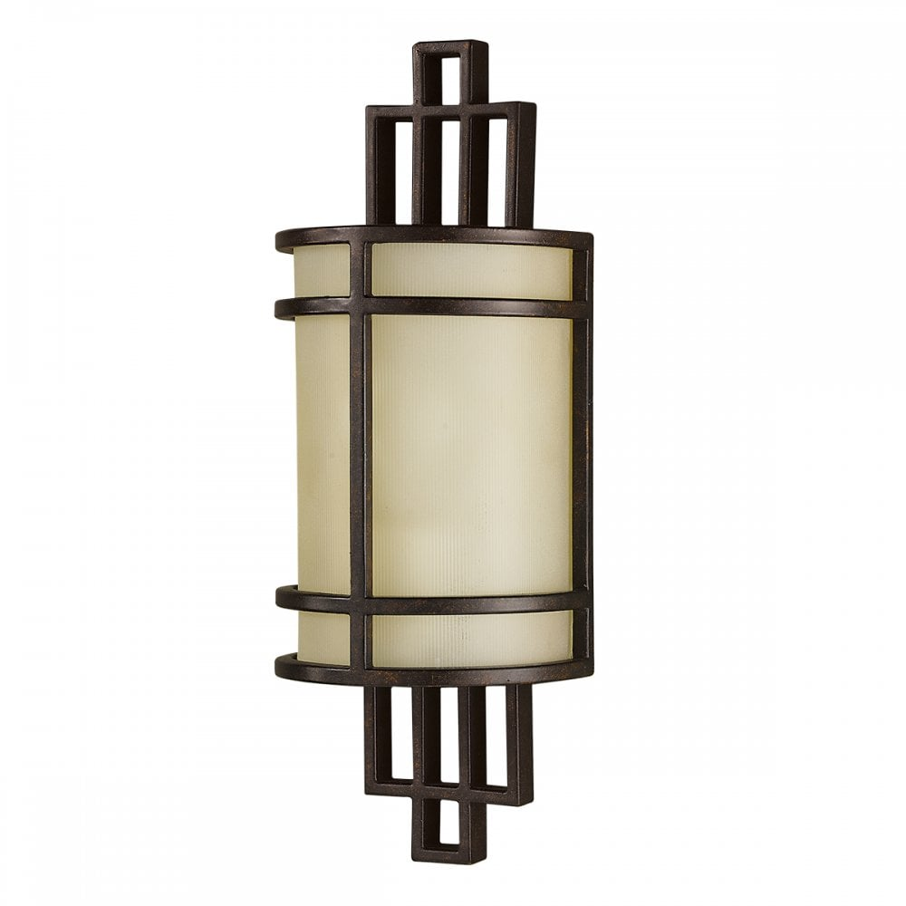 Arts And Crafts Bronze Wall Light With Amber Glass Lighting Company