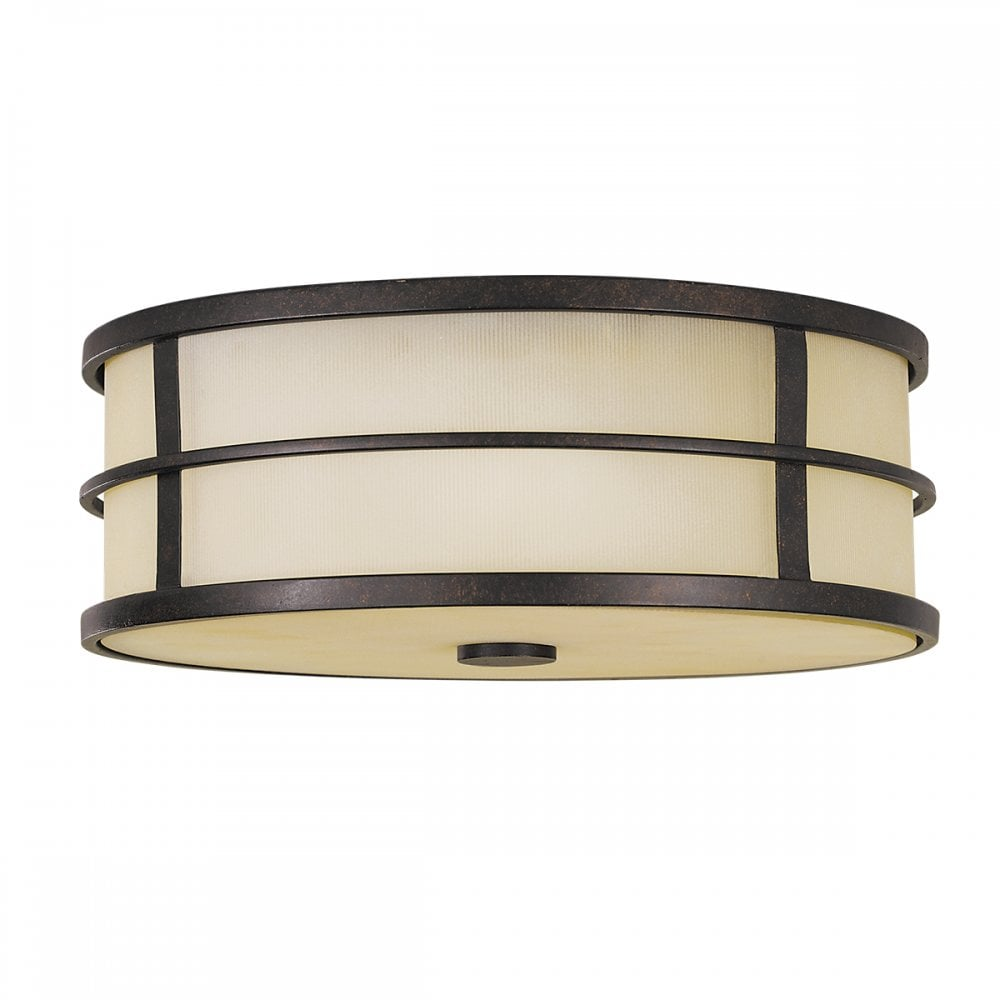 Flush Ceiling Light in Grecian Bronze and Amber Glass|Lighting Company