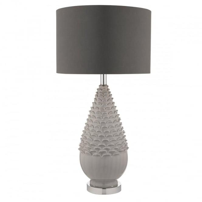 grey ceramic textured table lamp with grey satin shade