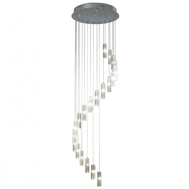 GALILEO 20 light LED cluster pendant in chrome and cut crystal