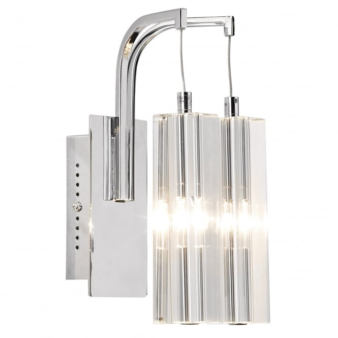GALILEO double insulated twin wall light in crystal & chrome