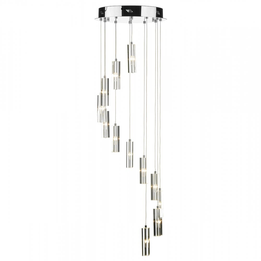 GALILEO LED 12 light spiral pendant in chrome and cut crystal