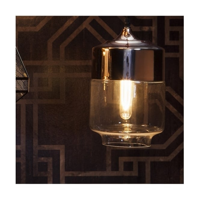 Gallery Interiors CARTER vintage ceiling pendant with clear glass and copper plated shade
