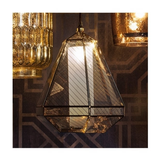 Gallery Interiors MADDOX Art Deco geometric pendant with gold plated finish