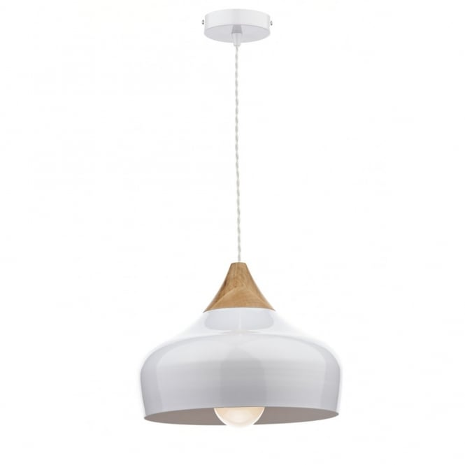 GAUCHO white & wood ceiling pendant