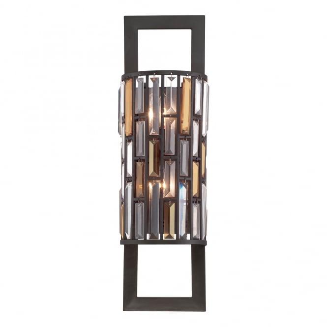 GEMMA contemporary decorative bronze & crystal wall light (tall)