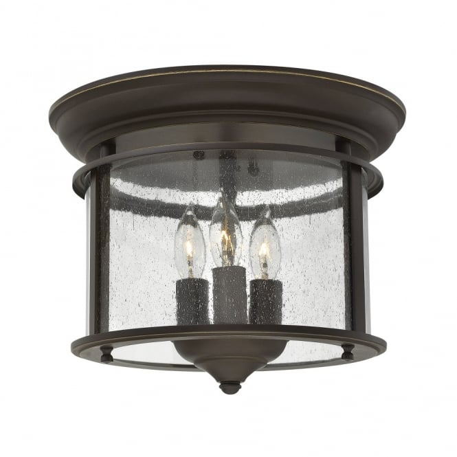 Traditional Flush Mount Ceiling Lantern In Old Bronze