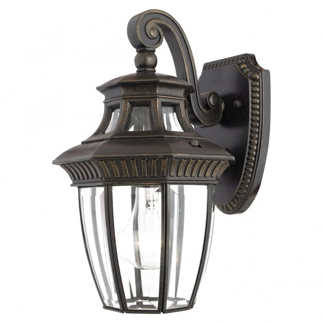 GEORGETOWN traditional bevelled glass outdoor wall lantern in bronze (small)