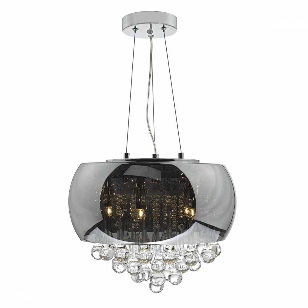 big sale c51a6 ccb23 GISELLE 5 light smoked and clear glass ceiling pendant