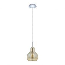 GLASSE retro ceiling pendant with amber glass shade